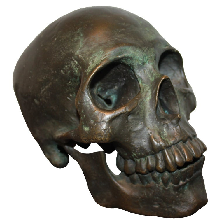 Early  20th Century American School Life Size Bronze Skull 1
