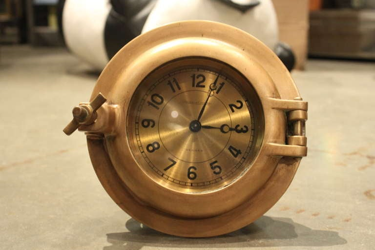 Great Hermes porthole clock made by Jaeger-LeCoultre. It is really heavy and beautiful quality.
