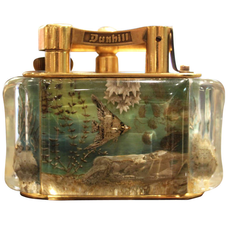 Dunhill Reversed Carved and Painted Aquarium Lighter 1950