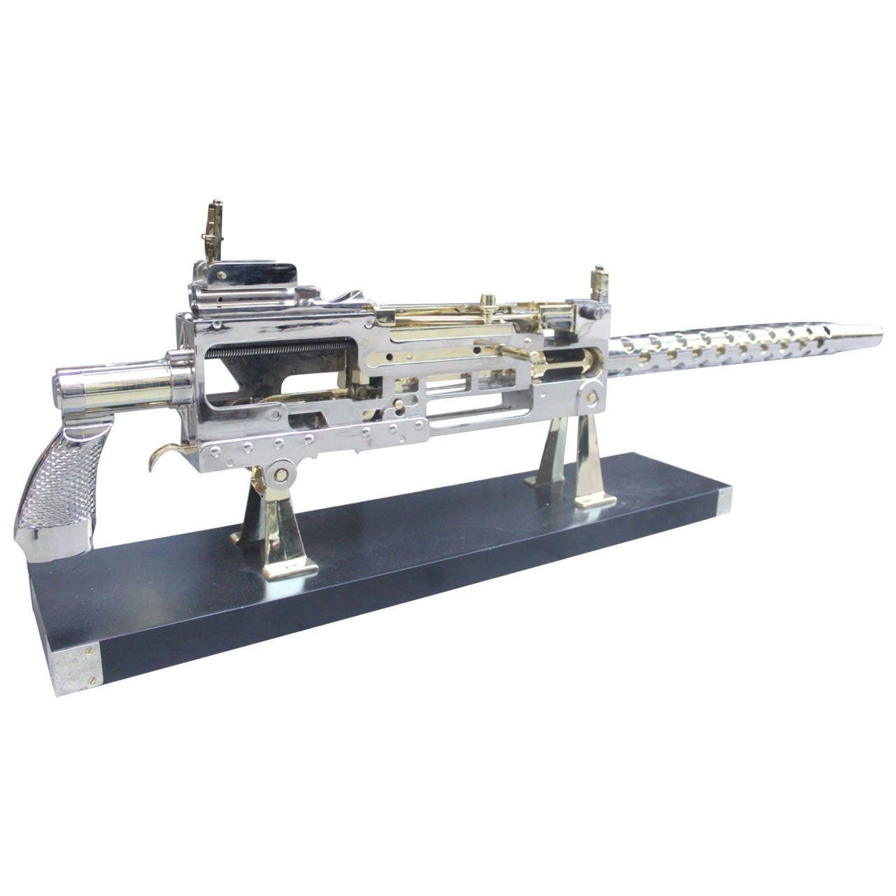 Nickel and Brass Plated Machine Gun Cutaway Model 1