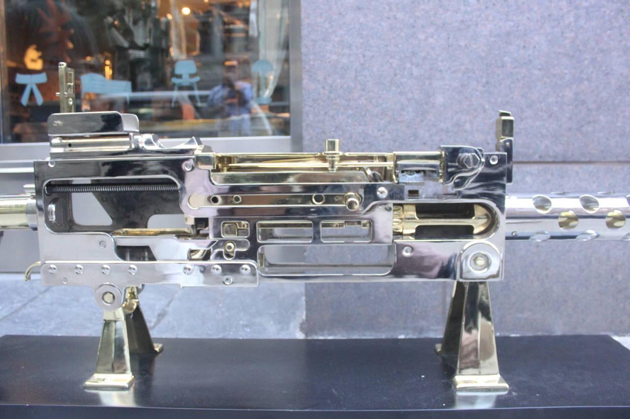 Nickel and Brass Plated Machine Gun Cutaway Model 5