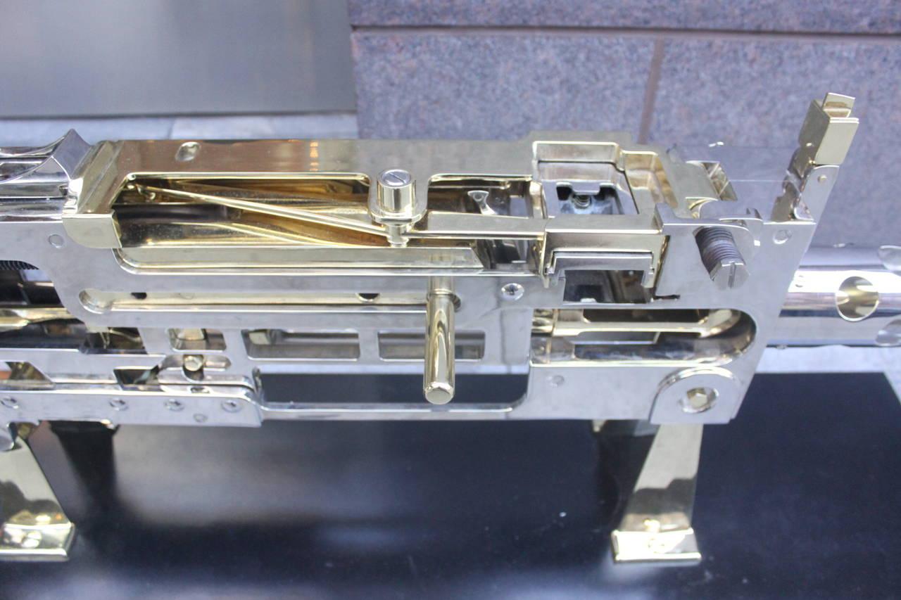 Nickel and Brass Plated Machine Gun Cutaway Model 2