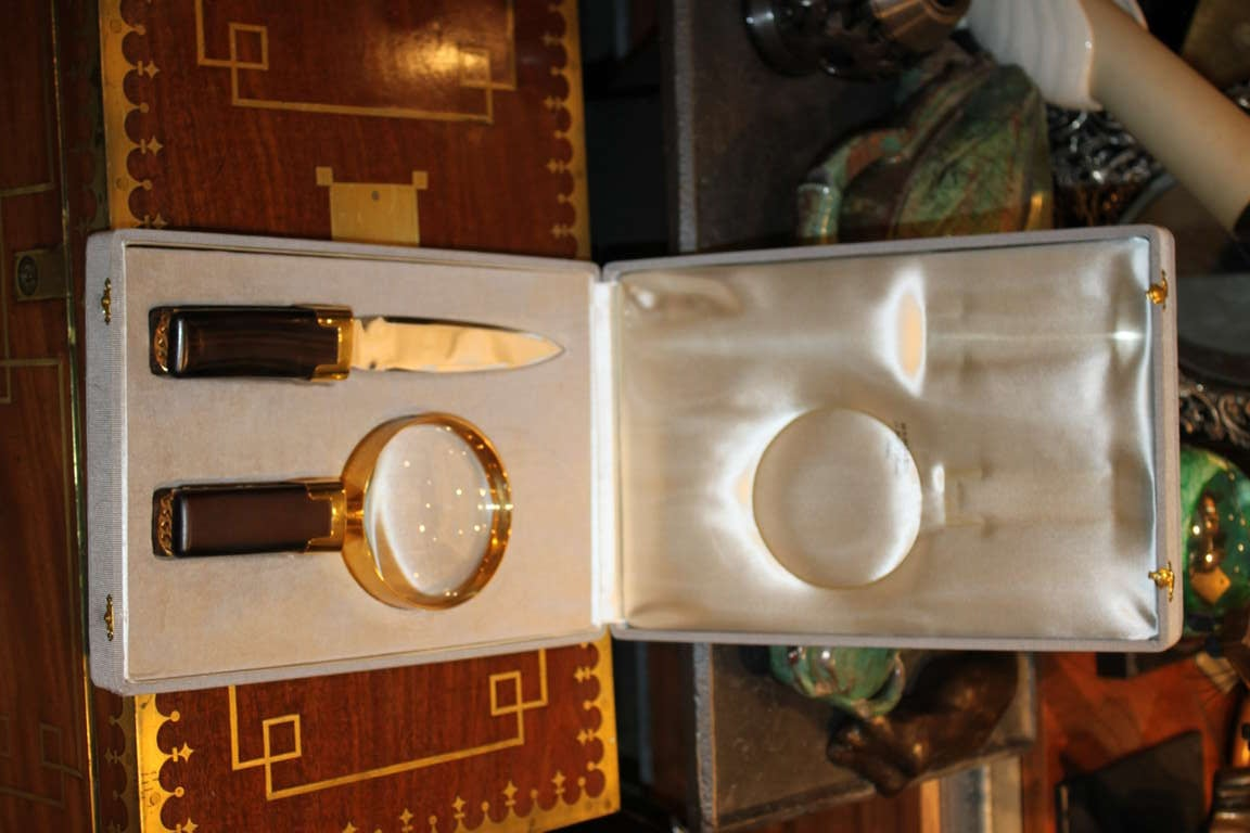 Hermes Rosewood  And Chain Desk Set 4