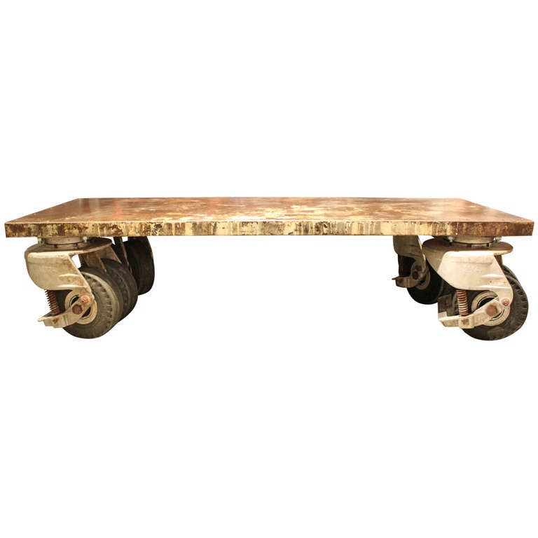Industrial Coffee Table On Wheels At 1stdibs: Amazing And Unique Coffee Table Fabricate From Giant