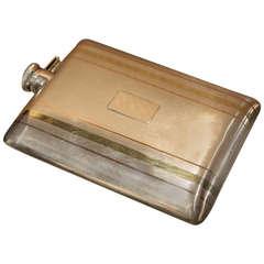 Cartier Art Deco Sterling and Bi-Color 14kt. Gold Flask