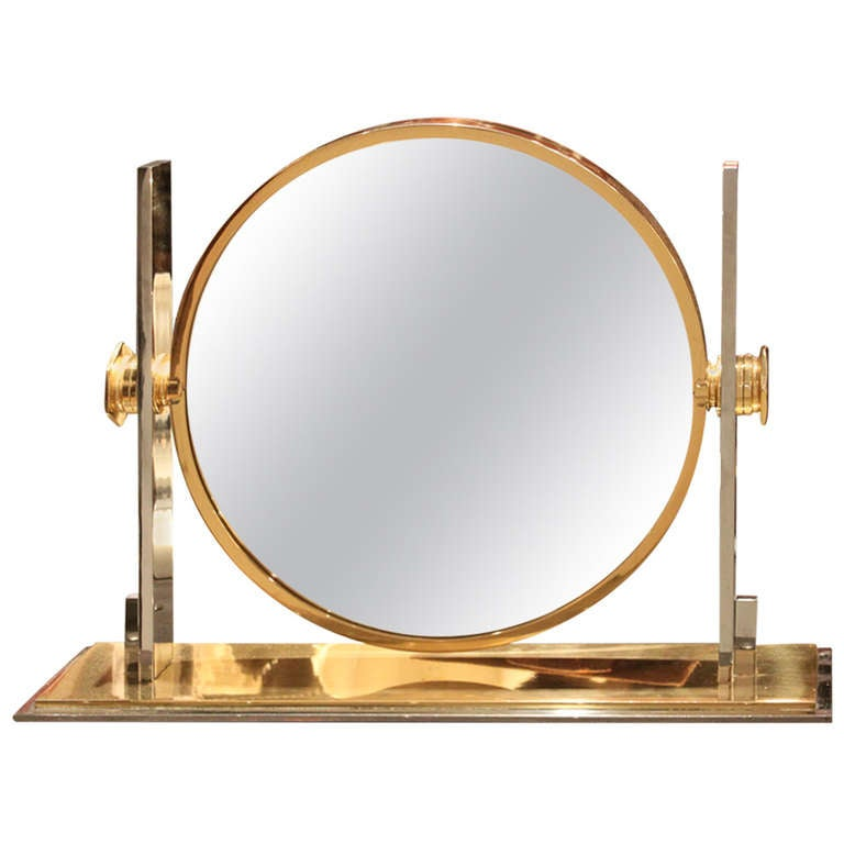 Captivating Karl Springer Large Size Table Top Vanity Mirror, 1970 1