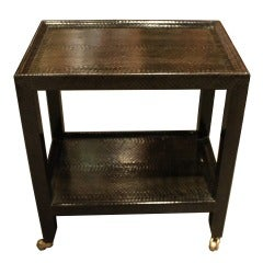 Wonderful and Rare Karl Springer Snakeskin Telephone Side Table
