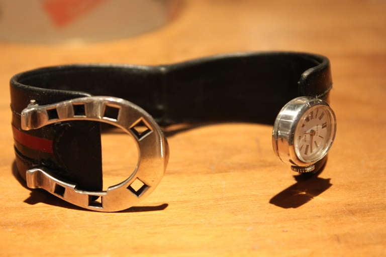 5b13265a3bf Extremely Rare Gucci Sterling Horseshoe Form Watch 1970 In Excellent  Condition For Sale In New York