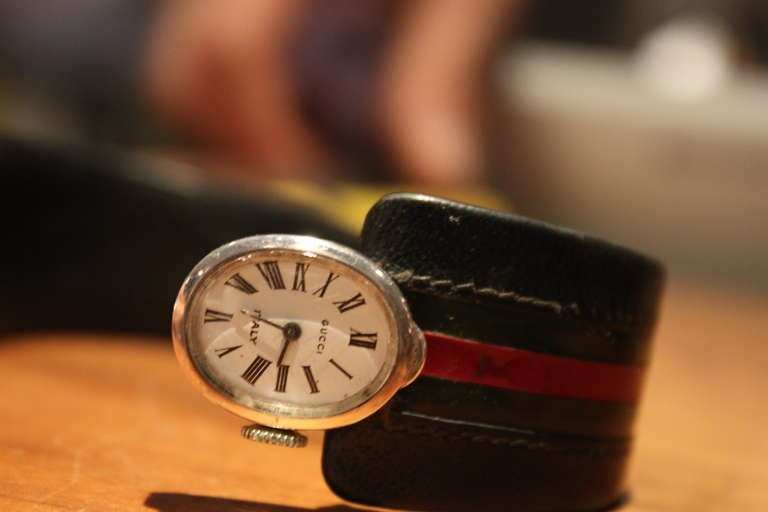 199c17645af Leather Extremely Rare Gucci Sterling Horseshoe Form Watch 1970 For Sale