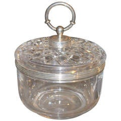 Hermes Baccarat and Sterling Lidded Box