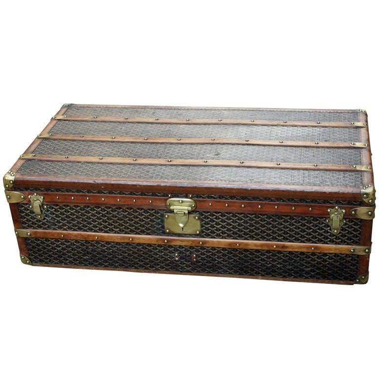 Rare Goyard Steamer Trunk Coffee Table