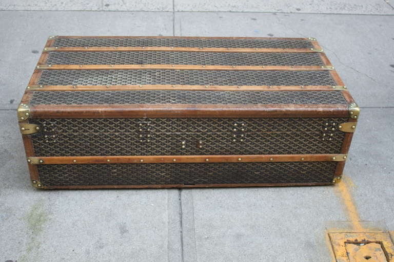 Rare Goyard Steamer Trunk / Coffee Table at 1stdibs
