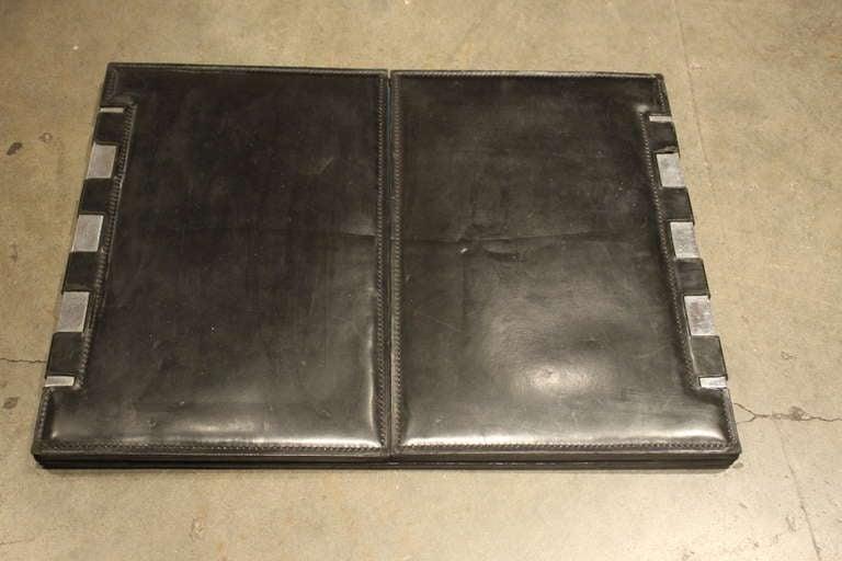 hermes leather and nickel desk blotter by paul dupre lafon 2 - Desk Blotter