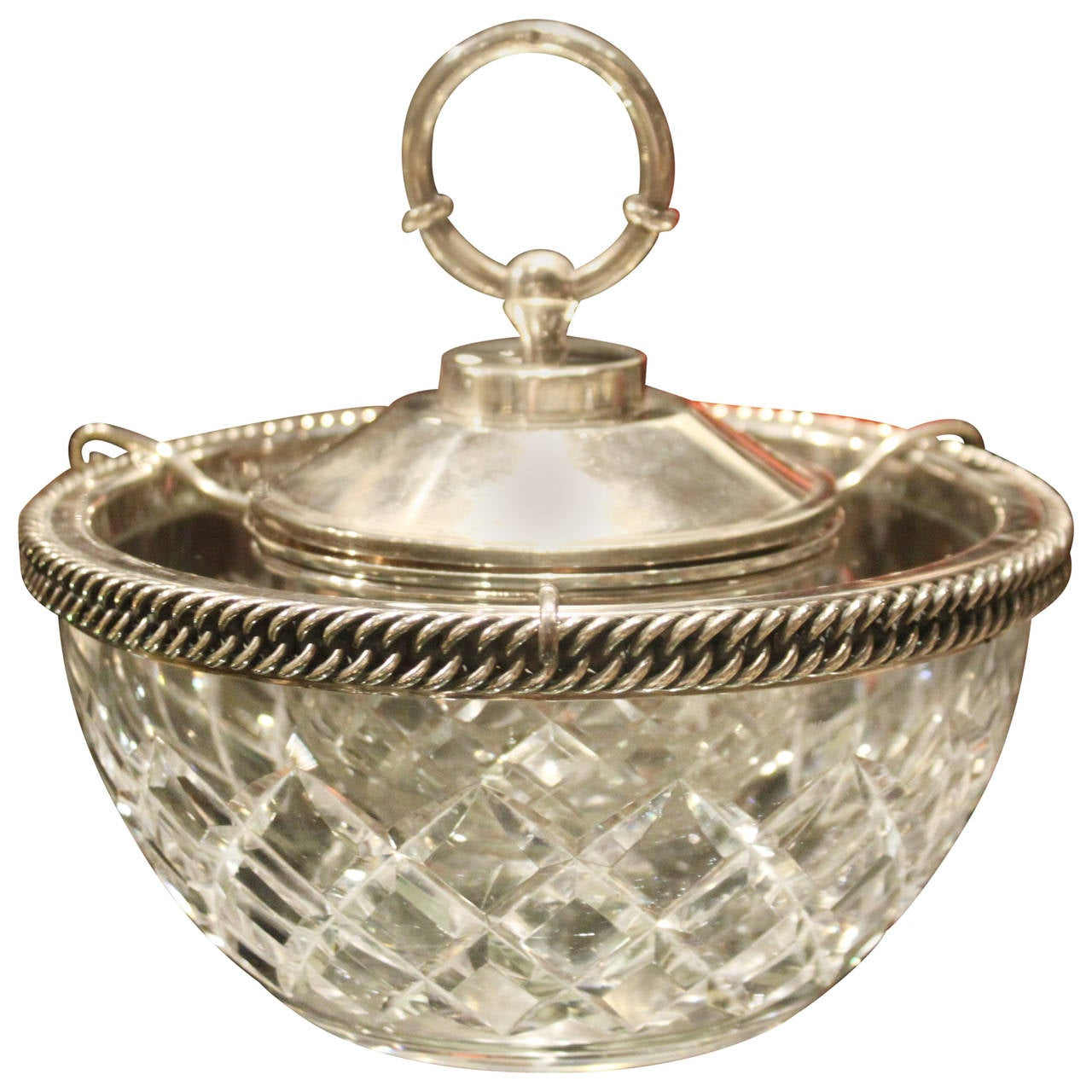 Hermès Sterling and Baccarat Crystal Caviar Service 1