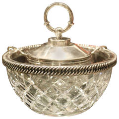 Hermès Sterling and Baccarat Crystal Caviar Service