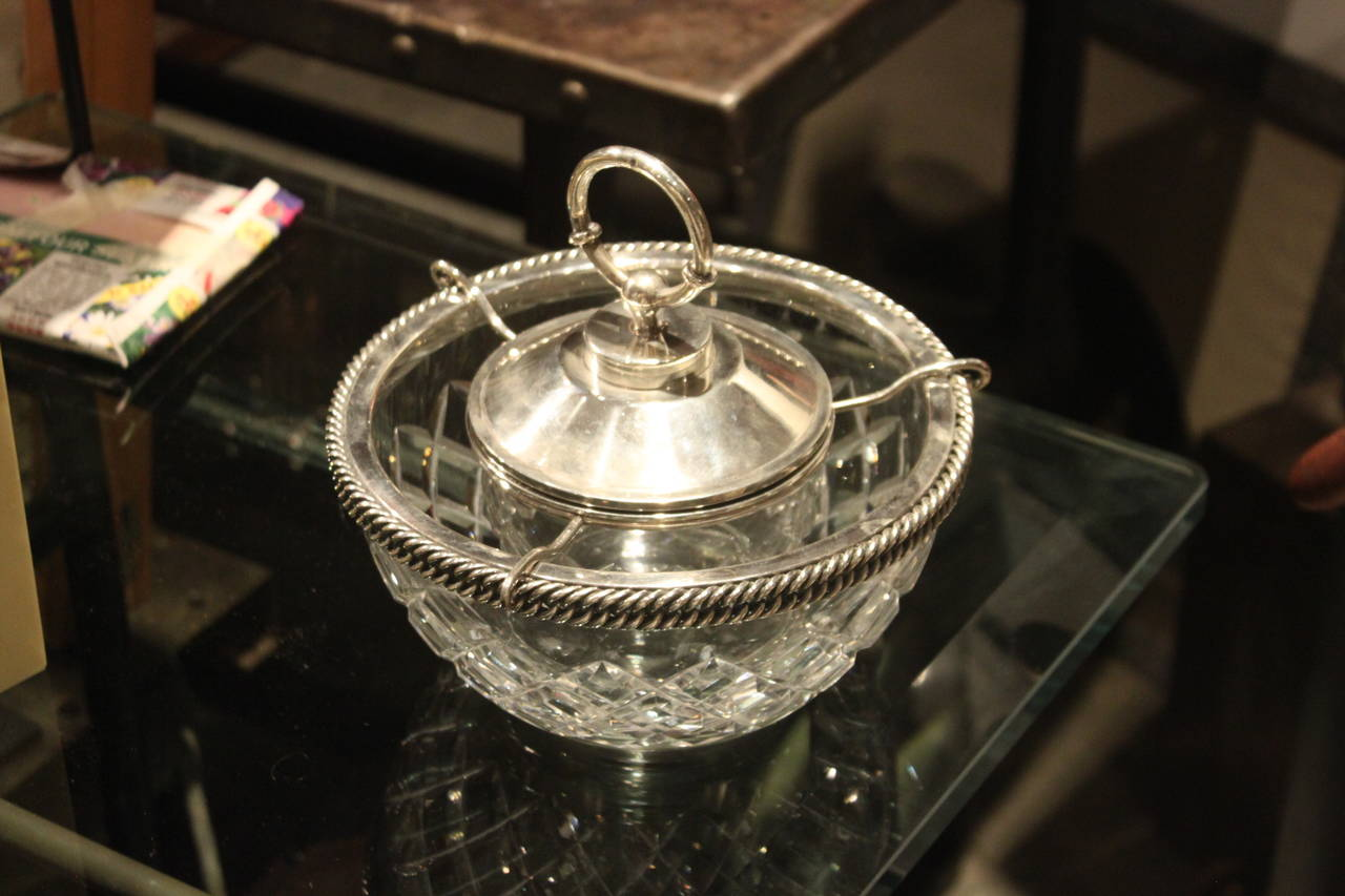 Hermès Sterling and Baccarat Crystal Caviar Service 3