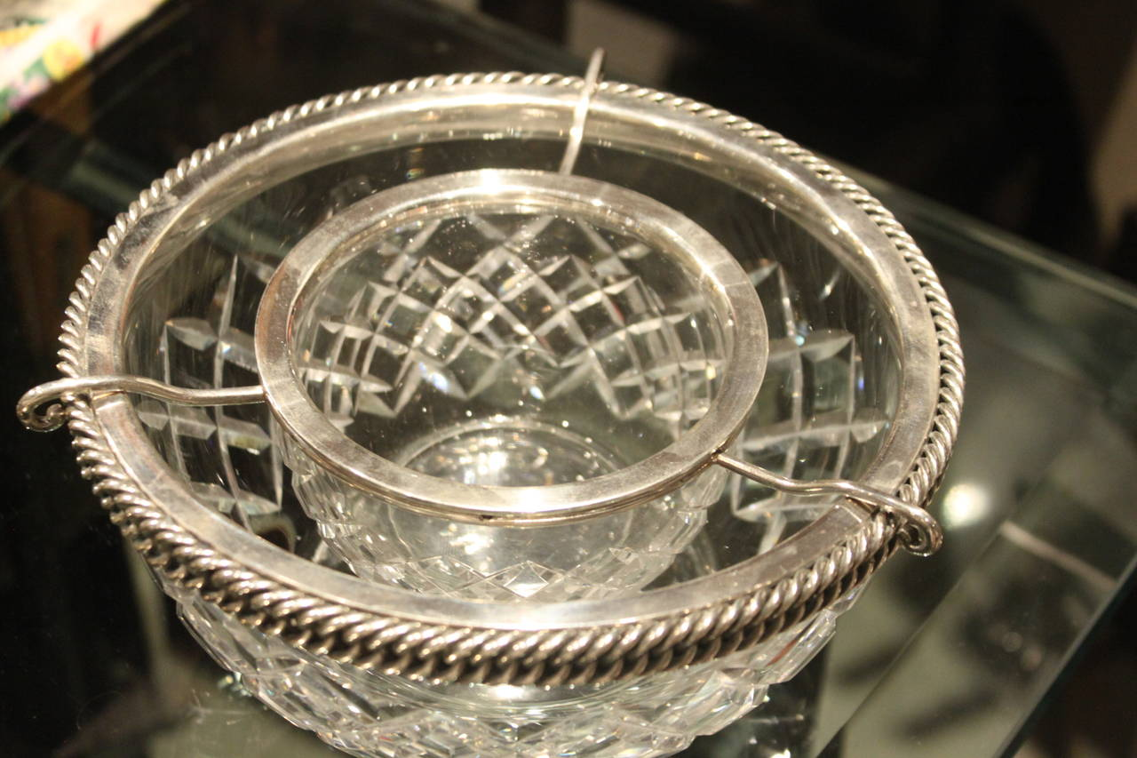 Hermès Sterling and Baccarat Crystal Caviar Service 7