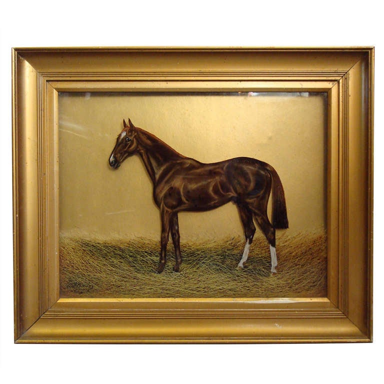 Reverse Glass Painting Horse