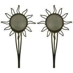 Pair of Large Sunburst Sconces(2 pair available)