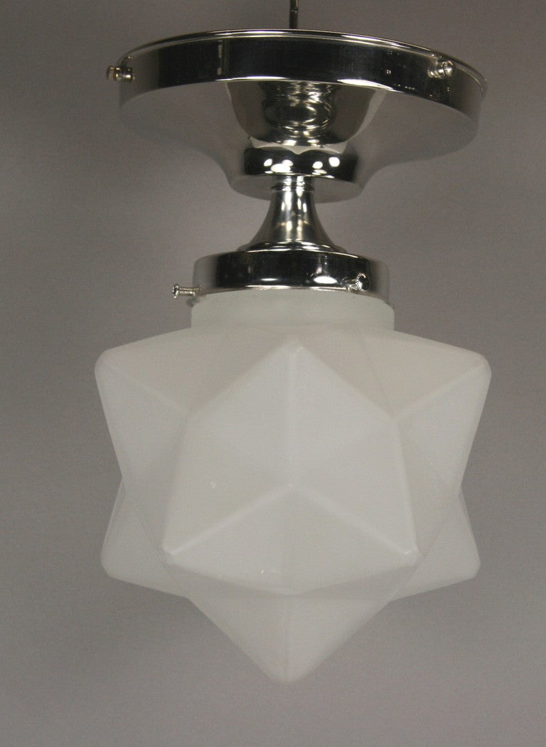 frosted glass star semi flush mount at 1stdibs