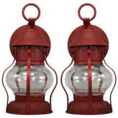 Pair of Red Caged Hurricane Sconces