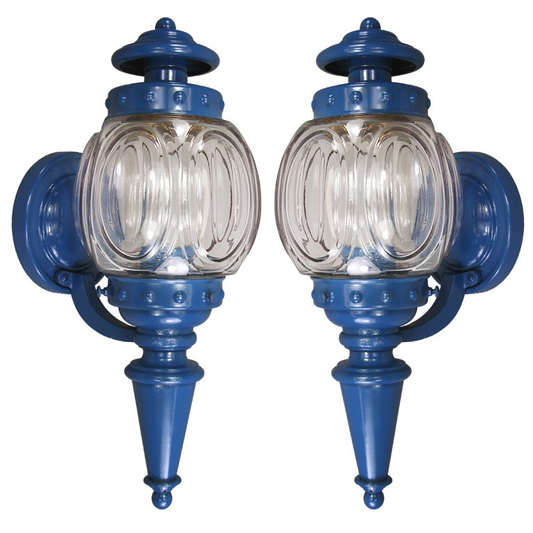 Pair Embossed Glass Blue Nautical Sconce At 1stdibs