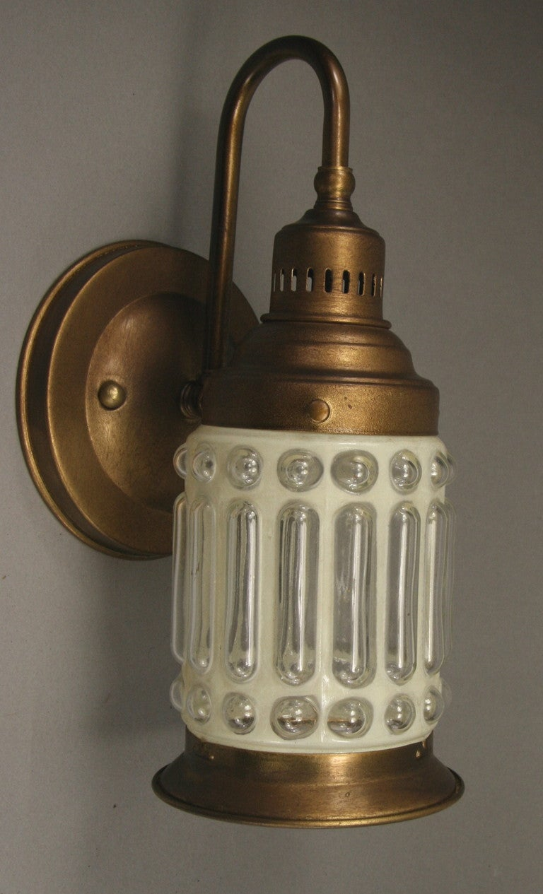 Nautical Brass Wall Sconces : Pair Nautical Brass Bubbled Glass Sconces at 1stdibs