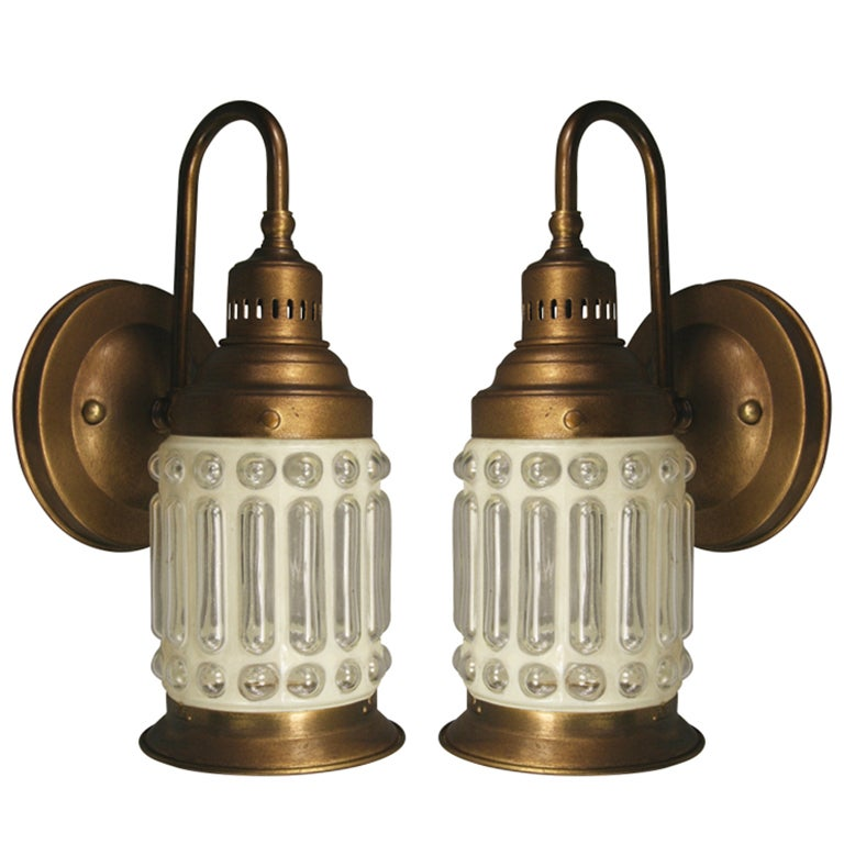 Nautical Brass Wall Sconces : Pair Nautical Brass Bubbled Glass Sconces