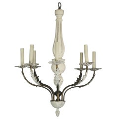 Italian Brass Wood Chandelier