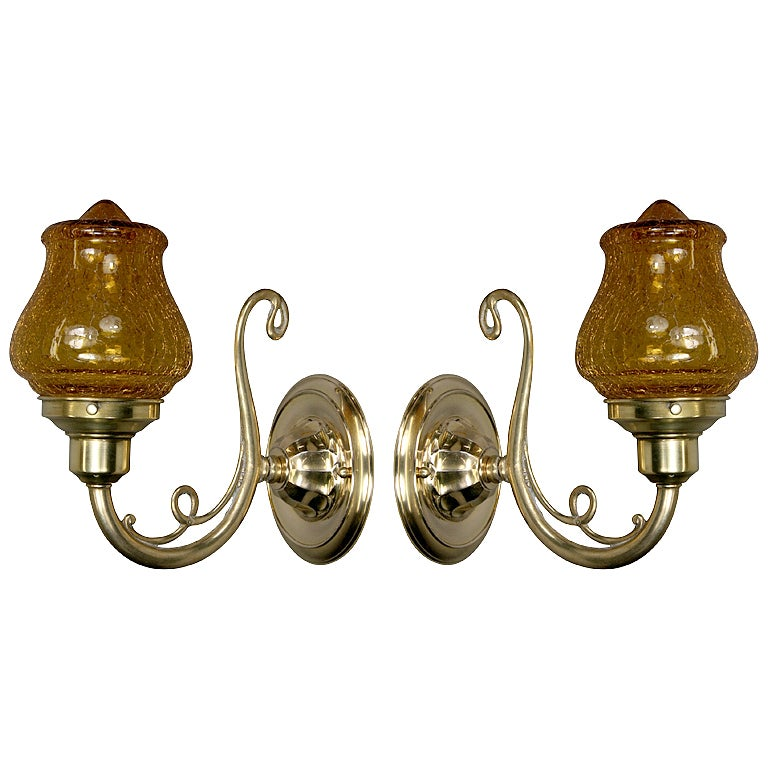Amber Glass Wall Lights : Pair Crackle Amber Glass Sconce at 1stdibs