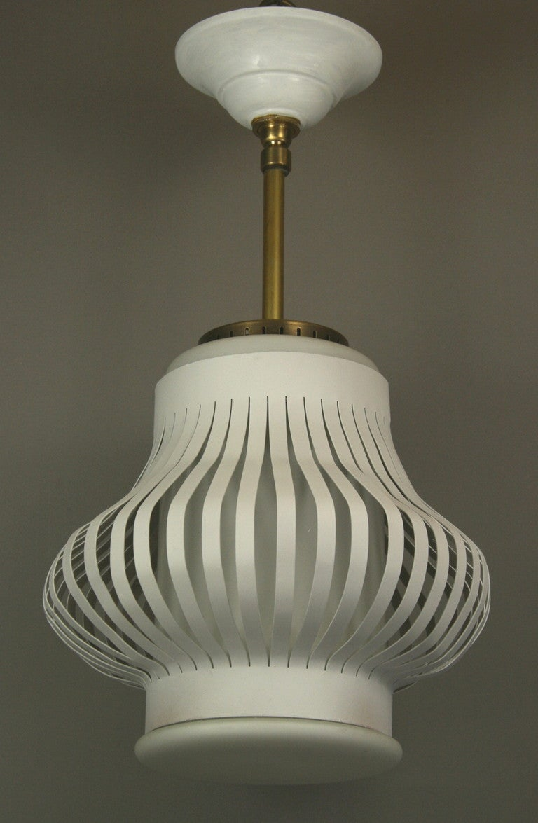 Mid Century Spun Cage Milk Glass Pendant(2 available) In Good Condition For Sale In Douglas Manor, NY