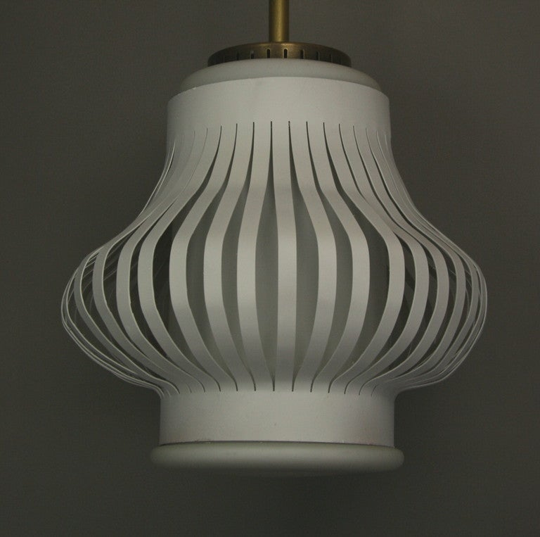Late 20th Century  Mid Century Spun Cage Milk Glass Pendant(2 available) For Sale