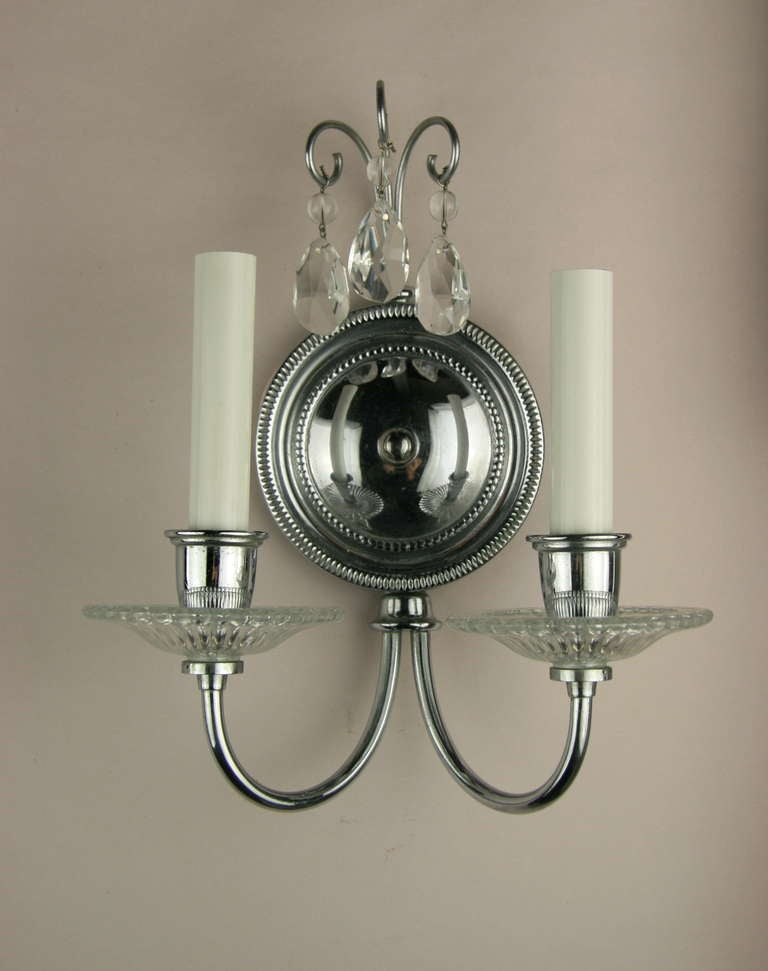 Pair of double arm nickel crystal sconce for sale at 1stdibs for Home interior 5 arm sconce