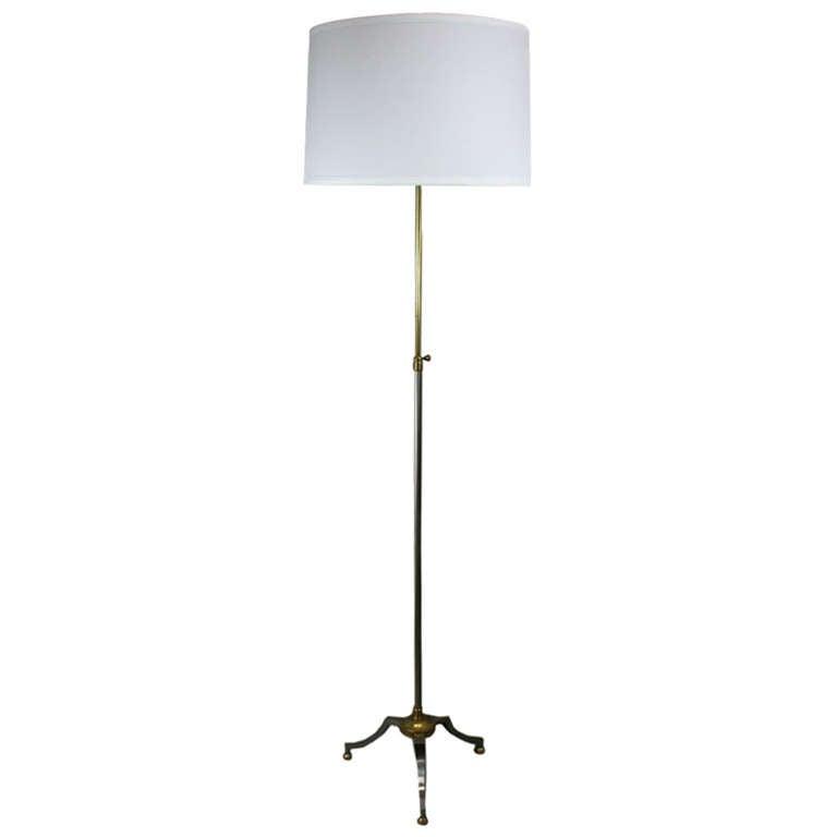 Pair of  Mid Century  Adjustable Nickel Tripod Base Floor Lamp