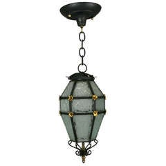 Blackened Etched Glass Italian Lantern