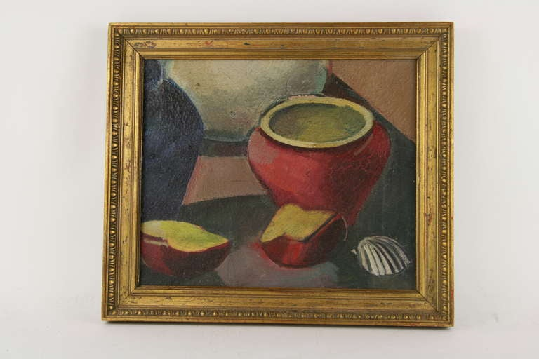 Red Pot Still Life Painting In Good Condition For Sale In Douglas Manor, NY