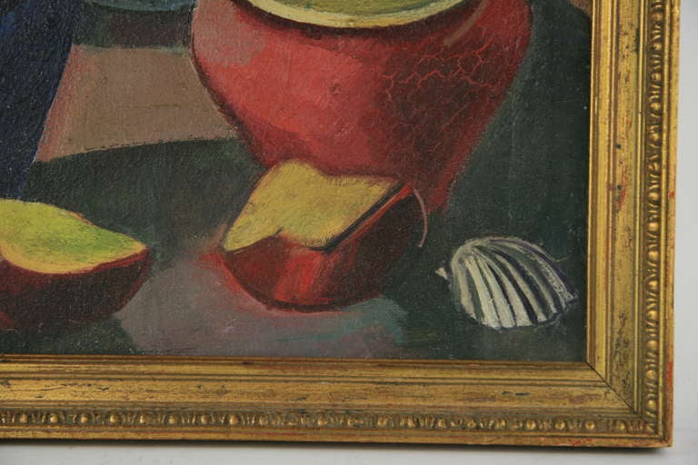 Italian Red Pot Still Life Painting For Sale
