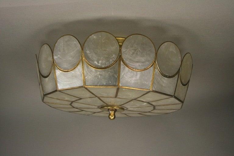Large capiz shell flush mount at 1stdibs for Shell ceiling light fixtures