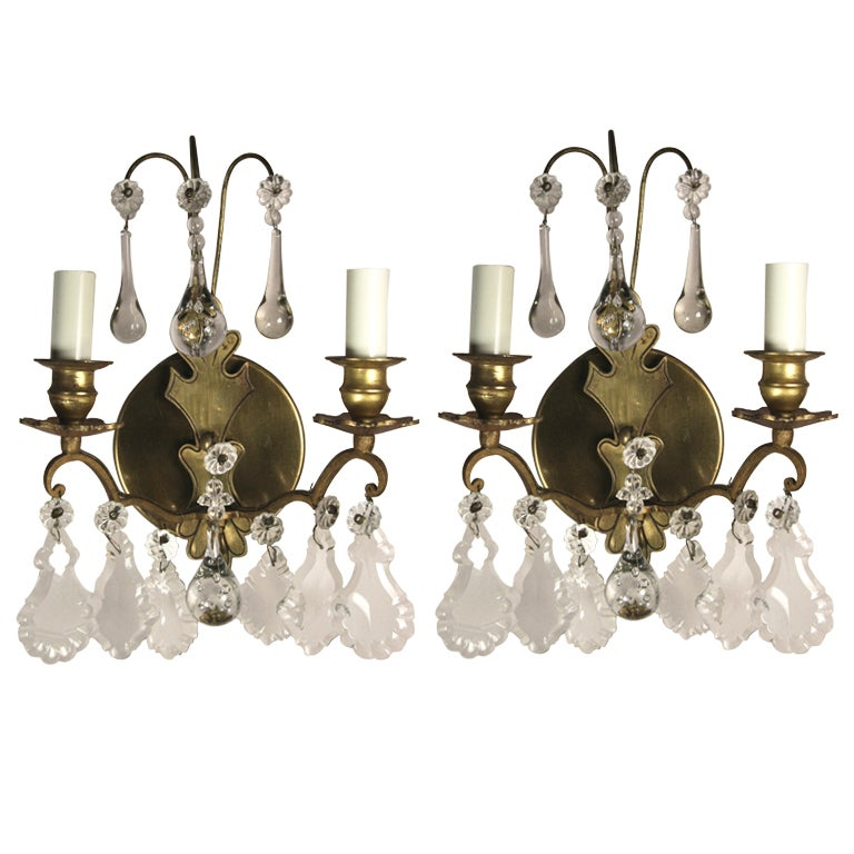 ON SALE Pair of French  Double Arm Brass Crystal Sconce