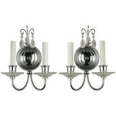 Pair of Double Arm Nickel Crystal Sconce