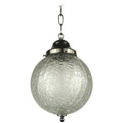 Mid Century Crackle Glass Sphere Pendant