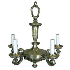 On Sale Silver Plated Bronze Chandelier, circa 1920s