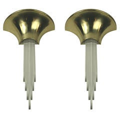 Oversized Pair of Mid Century  Wall Sconces, Two Pair Available