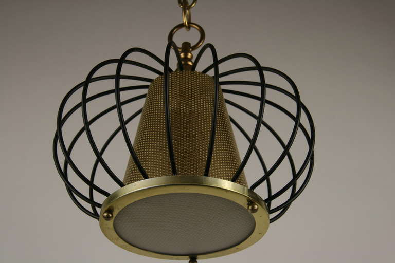 Mid Century Black Brass Modern Ceiling Fixtures, Two  Available In Good Condition For Sale In Douglas Manor, NY
