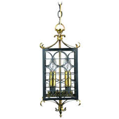 French Black Metal and Polished Brass Mid Century  Lantern,