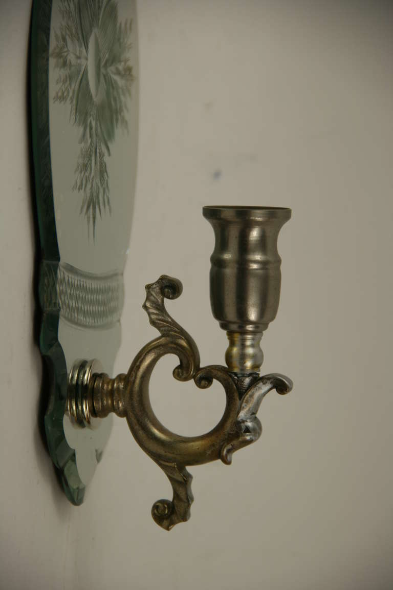 Mirrored Wall Sconces For Candles : Pair of Mirrored Candle Sconces at 1stdibs