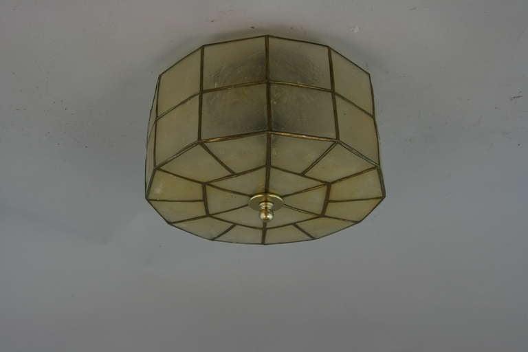 Capiz shell flush mount at 1stdibs for Shell ceiling light fixtures