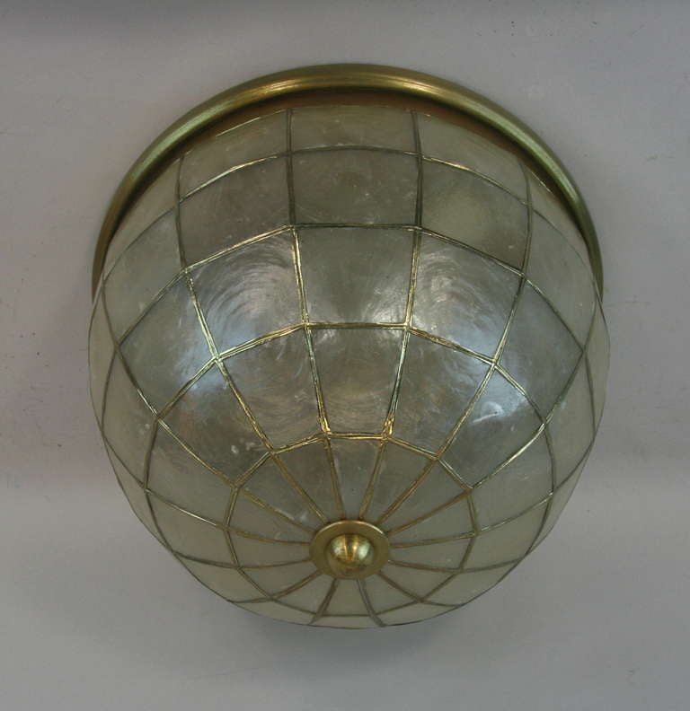 Large capiz shell dome flush mount at 1stdibs for Shell ceiling light fixtures