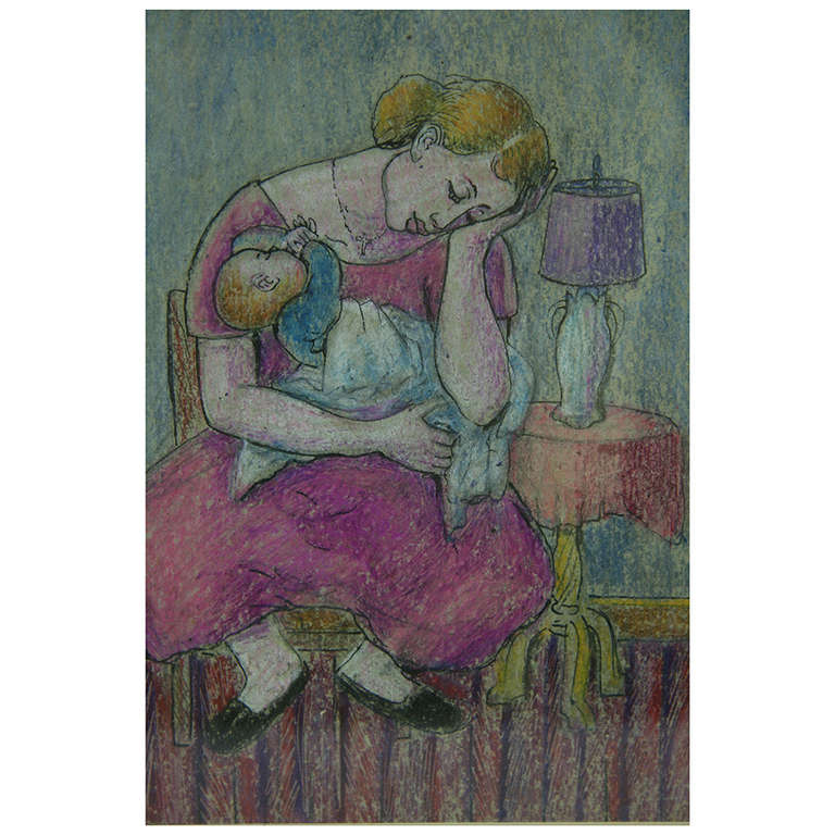 Mother and Child Pastel Painting 1