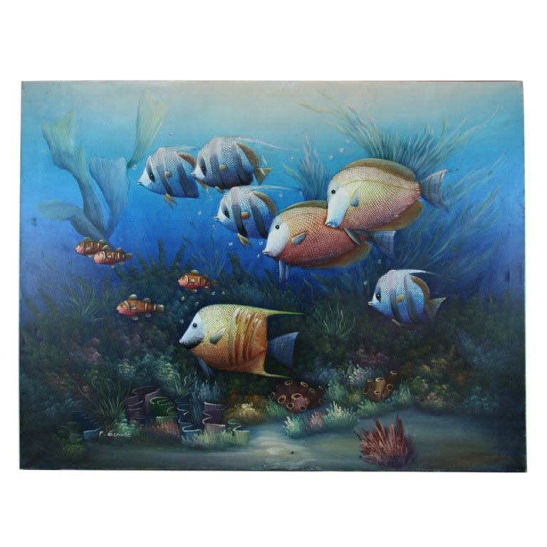 The aquarium at 1stdibs for Aquarium decoration paint